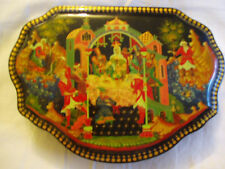 VERY FINE USSR Russian PALEKH Lacquer Box ICON RARE UNIQUE SHAPE Signed (BOX I