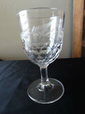 EAPG Early American Pattern Glass Honeycomb Fern Etched Water Goblet