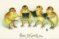Fabric Block Vintage Easter Postcard Printed onto Fabric Easter Chick Quartet