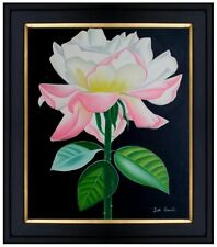 Framed, Still Life with Double Delight (Rose), Hand Painted Oil Painting 20x24in