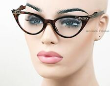 Rhinestone Cat Eye Womens Glasses 50s Vintage Style Clear Tortoise K17 CL