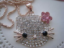 "BETSEY JOHNSON CRYSTAL HELLO KITTY HEAD PINK FLOWER PENDANT NECKLACE  28""  # 308"