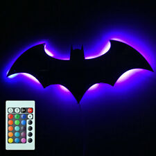 Home Office Colorful Remote Control LED Batman Night Light Mirror Wall Light