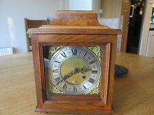 FRANZ HERMLE MANTLE CLOCK with Twin bell & see through  BURR WALNUT CASE