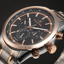 KS Luxury Rose Gold Date Day Stainless Steel Automatic Mechanical Mens Watch