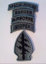 Special Forces Patch  Special Forces  Ranger  Airborne Sniper  ACU Tabs W/Hook