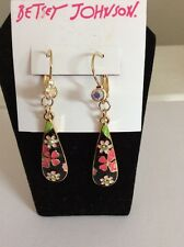 $35 Betsey Johnson Memoirs Of Betsey Collection Black Flower Drop Earrings BJ 3