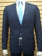 Men's Navy Blue Micro Check Slim Fit Dress Suit SIZE 38R NEW