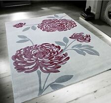 Bloom Light Grey & Mauve Purple Floral Flower Large Soft Touch Rug 160x230cm