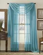 "Empire Home Solid Sheer Voile Scarf Valance 216"" Long Window Scarves Aqua Teal"