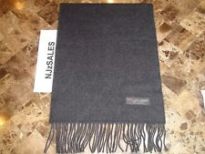 100% CASHMERE WINTER SCARF SOLID Charcoal Gray Soft Warm Scotland Wool Women S10
