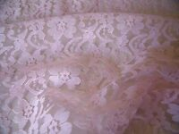 LIGHTWEIGHT FLORAL NYLON  LACE- PINK-DRESS/BRIDAL FABRIC-FREE P&P