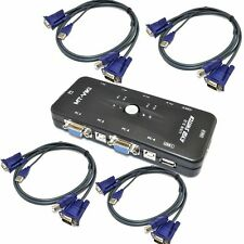 USB 2.0 4 Port Monitor SVGA VGA KVM Switch Box + 4 Cables for PC Keyboard Mouse