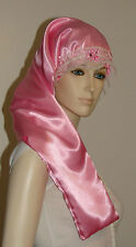 Hair Bonnet Pink Satin or Night Sleep Cap - Adult Size for Long Hair