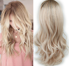 Natural Custom Wavy highlight two tone Ombre light Ash platinum full womens wig