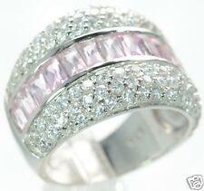 Solid 925 Sterling Silver Pink Baguette and Clear CZ Band Ring Sz- 7 '
