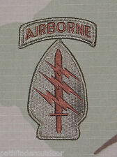 Special Forces US Army Desert Unit Patch w/ Airborne Tab & Hook Fastener Backing