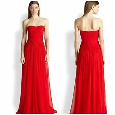New. Badgley Mischka Strapless Silk Cross-Drape Gown red. Size10 $865 only $199