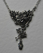 LOVELY ART NOUVEAU STYLE SILVER PLATED LADY PENDANT WITH GLASS CRYSTALS 18""