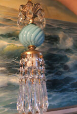 1of5 SWAG lamp chandelier crystal Vintage Swirl Aqua Blue tole Brass dining room