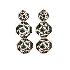 Boucles d`Oreilles Clous Longue Art Deco Baroque Octogone Vert Vintage XX 4