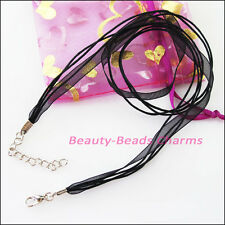 5 Black Cotton Wax Cord & Organza Ribbon + Lobster Clasps For Necklace 45cm