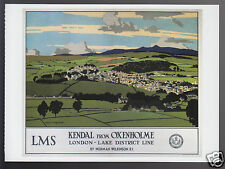 KENDAL FROM OXENHOLME LMS - Norman Wilkinson Art TRAVEL POSTER REPRINT POSTCARD