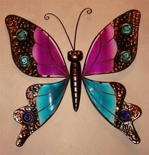 Butterfly Wall Hanging New Blue & Pink Metal & Stained Glass Butterfly Wall Art