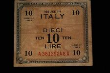 Italy Allied Military Currnecy 10 Lire Series 1943A