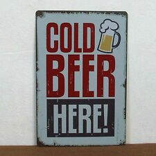 Cold Beer Metal Sign Tin Poster BAR HOME Kitchen Vintage Wall Art Decor Hot Sale