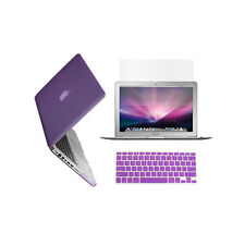 "3 in 1 Rubberized PURPLE Case for Macbook PRO 13"" + Keyboard Cover + LCD Screen"