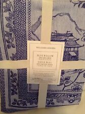 Williams Sonoma Blue Willow Table Runner 18x108  Jacquard Cotton Linen New!