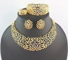 African Costume Gold Jewelry Set Ring Earrings Necklace Bracelet Chrystal Bridal