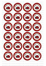 24 Edible cake toppers decorations birthday polka black red ladybird lady bug