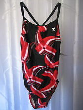 TYR Black/Red/White Tye Dye Print Competitive Swim/Bathing Suit Sz 38 L NWT