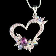 Purple w Swarovski Crystal ~Love Heart Flower~ Valentine Charm Pendant Necklace