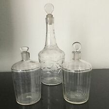 Lot 3 Flacons Alcool Parfum Verre Soufflé d'époque XVIIIè Antique French 18th C