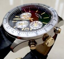 Stunning Rotary Mens Watch Chronograph Gold Details Swiss Watch RRP £180 Boxed