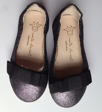 Marie Chantal Girls Black Sparkly Design Shoes Bows Size 23 Euro UK 6 BNIB NEW