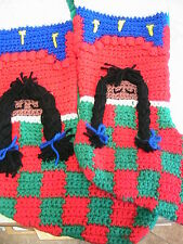 BLACK SLEEPING BRAIDS GIRL STOCKING~hand-made Christmas Holiday crochet by me