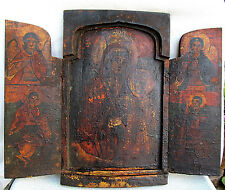 RARE OLD ANTIQUE PRIMITIVE WOODEN TRIPTYCH PAINTED ORTHODOX ICON 18th CENTURY