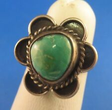 VINTAGE OLD PAWN TURQUOISE RING SIZE 4 STERLING SILVER SOUTHWEST NATIVE AMERICAN