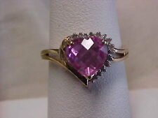 *ESTATE*1.75ct HEART SHAPED PINK TOPAZ & DIAMOND PROMISE RING 10K YELLOW GOLD