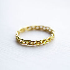 Gold Sterling Silver Plaited Midi Ring Twisted Rope Above the Knuckle Band 925