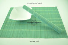 4 Fine Quality Handmade Bamboo Placemats Table Mats, Large Size, Turquoise PJ017