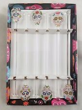 Skull Day Of The Dead Glass Swizzle Sticks Set of 6 Party Barware Halloween
