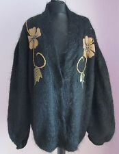 VTG Ladies Unbranded Black/Gold Applique Mohair Mix Cardigan Size XL (C33)