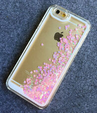 Cuori Rosa Liquid Glitter novità 3D Custodia Con Strass Cover per iPhone 6 6s