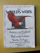 THE WORLDS WORK BOOK 1921 THE LONDON LETTERS WALTER PAGE ALL IN A LIFE TIME