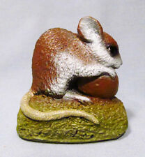 P. J. Dutt Hand Made England Brown Mouse with Nut Sculpture Figurine - Cute!